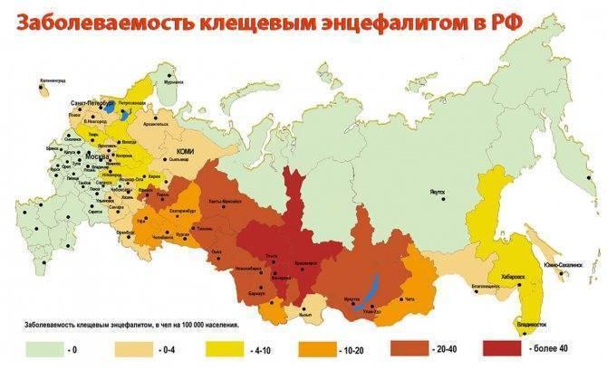 Где в россии обитают энцефалитные клещи?