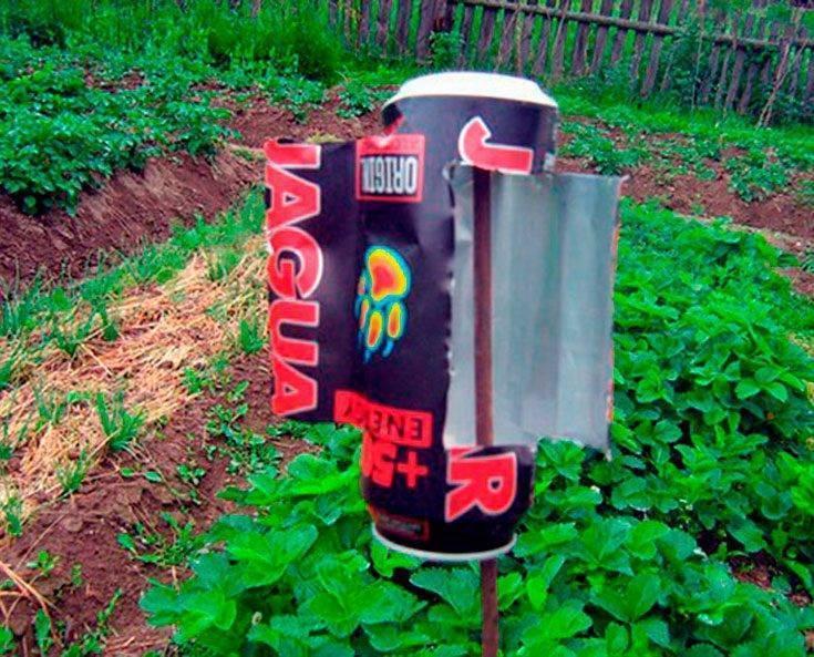 Ветряк из пластиковой бутылки для отпугивания кротов. как сделать отпугиватель от кротов из пластиковой бутылки? чего боятся птицы