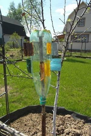 Вертушка из пластиковой бутылки для отпугивания кротов